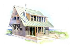 Beach Style House Plan - 2 Beds 1.5 Baths 950 Sq/Ft Plan #479-7 Front Elevation - Houseplans.com