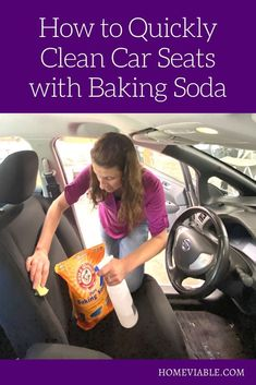 Clean your car seats and interior with this DIY carpet cleaning hack,: baking soda. This all natural product will remove any and all stains fast. #homeviable #bakingsoda #carcleaning Clean Cloth Car Seats, Cleaning Leather Car Seats, Cleaning Car Upholstery, Car Cleaning, Cleaning Hacks, Vinegar Cleaning Solution, Cleaning Solutions, All Natural Cleaning Products, Best Cleaner