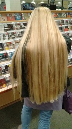 gotten quite long, but now that she can sit on it, she wants me to trim at least 2 inches. Was hoping she'd be willing to go to classic length. Beautiful Long Hair, Gorgeous Hair, Thick Blonde Hair, Long Silver Hair, Tumbrl Girls, Really Long Hair, Long Layered Hair, Silky Hair, Green Hair