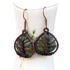 Tree of Life Earrings Copper Wire Wrapped Green by GarnetRoses, $37.00
