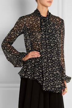 Alexander McQueenfloral-print silk chiffon blouse