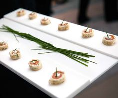 Salmon and chive roulades were a savory accompaniment to celebratory champagne.