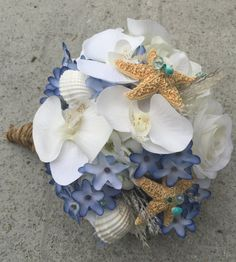 Beach Wedding Bouquet, Shell Bouquet, Blue and White Bouquet