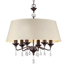 West Town Burnt Sienna Fluorescent Six-Light  Chandelier with Oatmeal Faux Linen Shade
