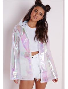 ♥ uchuu kei, holographic fashion, space grunge ♥ Holographic Rain Mac Pearlescent Pink - Coats and Jackets - Rain Macs - Missguided Festival Mode, Festival Outfits, Festival Fashion, Rave Outfits, Fashion Outfits, Womens Fashion, Holographic Fashion, Raincoat Outfit, Girl Clothing