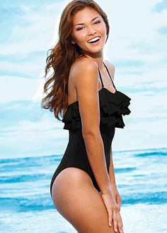 6c3fdd70e500d Black ruffle one piece swimsuit Bathing Suits For Teens