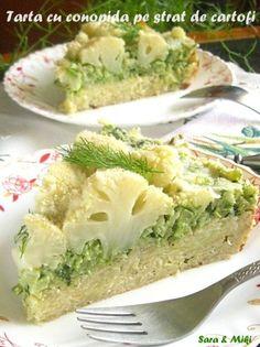 tarta-cu-conopida-pe-strat-de-cartofi-1 Romania Food, Baby Food Recipes, Cooking Recipes, Crunches, Avocado Toast, Broccoli, Cauliflower, Cabbage, Clean Eating