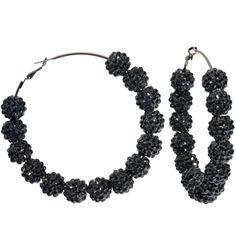 3 Inch Black Sparkle Ball Hoop Earrings | Body Candy Body Jewelry