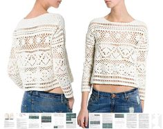 * This listing is for crochet pattern sent as a PDF file - not for an actual item. Materials for achieving best results: cotton yarn. Yarn weight: 5 ply / 2, Sport. You will receive detailed written instructions in ENGLISH for crocheting this beautiful crop sweater (written