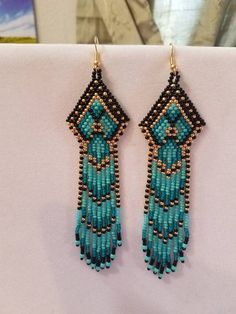 Seed Beaded Native American Style Earring Shoulder Duster