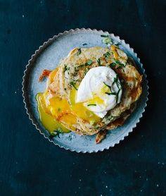 Savory Vegetable Pancakes witih Poached Eggs by ediblesanfrancisco #Pancake #Savory #Egg #Healthy