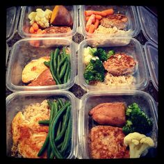 Each meal has a protein (turkey or chicken), carb (brown rice or 1/2 sweet potato) and vegetable (green beans, broccoli, cauliflower and carrots).