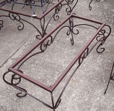 Coffee Table Base - Wrought Iron Rectangle Coffee Table Base w/ Scrolls Coffee Table Base, Steel Coffee Table, Coffee Table Rectangle, Coffee Table Design, Wrought Iron Chairs, Wrought Iron Decor, Iron Furniture, Steel Furniture, Steel Art