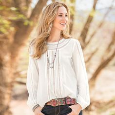 """VIVIENNE TOP--The beauty is in the details of our perfectly refined white cotton crepe blouse, embellished with inset, open ladder lace and diminutive pintucks. Hand wash. Imported. Exclusive. Sizes XS (2), S (4 to 6), M (8 to 10), L (12 to 14), XL (16). Approx. 25""""L."""