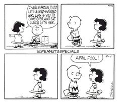 First Appearance: April 1st, 1964 #peanutsspecials #ps #pnts #schulz #charliebrown #lucyvanpelt #little #redhairedgirl #eat #lunch #her #aprilfool www.peanutsspecials.com