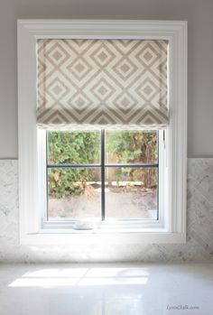 Custom Roman Shade by Lynn Chalk in David Hicks/Kravet La Fiorentina in Grey (comes in other colors) Drapes And Blinds, Blinds For Windows, Drapes Curtains, Valance, Blue Drapes, House Blinds, Relaxed Roman Shade, Interior Window Trim, Custom Roman Shades