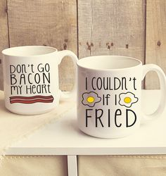 Start off the day with a smile with this silly set of coffee mugs that brings the melody of breakfast to the morning joe.