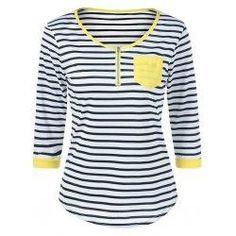 #Spring #AdoreWe #trendsgal.com - #Trendsgal Strip Zipper T Shirt - AdoreWe.com