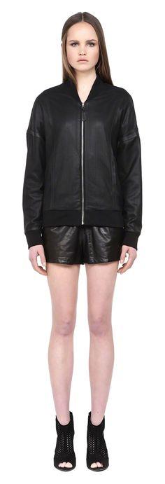 MACKAGE KANTI BLACK PERFORATED SPRING BOMBER LEATHER JACKET FOR WOMEN. #mackage #leatherjacket #ss15