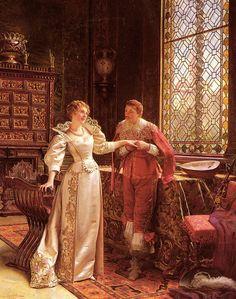 Frederic Soulacroix  (1858-1933)  -  La Demande En Mariage. She has a beautiful dress!