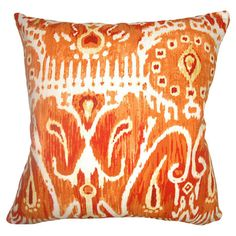 Bring a pop of boho-chic style to the sofa or guest bed with this bright cotton pillow, showcasing an ikat-inspired pattern.  Produc...