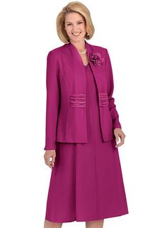 """Figure-flattering jacket with open-front styling, princess seams and front georgette insert with shirring. Sleeveless V-neck gored dress with back zip closure. FREE flower pin. Woven polyester. Machine wash & dry. Imported. Approximate lengths: Petite - Jacket-22"""", Dress-41""""; Misses - Jacket-23"""", Dress-42""""; Women's - Jacket-25"""", Dress-44""""."""
