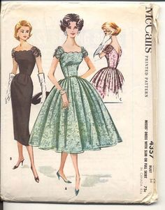 Advance 6134 1950s Pretty Square Neck DRESS Pattern Full Skirt ...