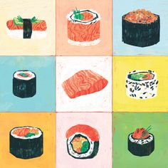 Salmon - Leonard Peng texture noise color block crayons food spspsp
