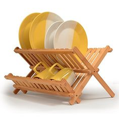 Dish Drying Rack Bamboo Dish Rack Collapsible Dish Drainer, Foldable dish drying rack Wooden Plate Rack Made of Natural Bamboo, By: Bambüsi Wooden Plate Rack, Plate Racks, Wooden Plates, Plate Holder, Utensil Racks, Dish Racks, Utensil Holder, Utensil Storage, Easy Storage