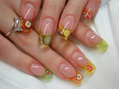 Steps to learn how to put on false acrylic nails. All these designs I want to try on my fingers artificial nails Crazy Nails, Fancy Nails, Diy Nails, Cute Nails, Pretty Nails, Nail Nail, Ongles Roses Clairs, Fruit Nail Art, Encapsulated Nails