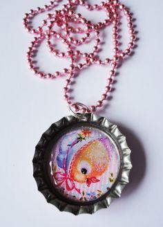 Vintage Kawaii Duck Glitter Baby Pink Bottle Cap by XKawaiiCutieX, £5.00