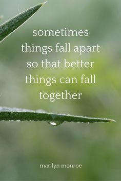 Sometimes things fall apart so that better things can fall together. - Marilyn Monroe