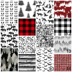 New to HudsonBabyCompany on Etsy: Crib bedding - black white grey red - nursery items - choose from multiple items -rustic woodland mountain themed - buffalo plaid foxbear (25.00 USD)