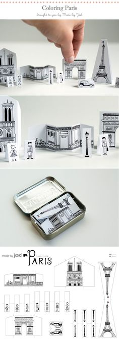 printable Paris - download the paper city, then have the kids color and fold...perfect activity for a rainy day!