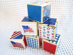 Red White and Blue Seasonal Decor Wood Blocks Nursery/Home Decor Patriotic Flags, Fireworks, and FREEDOM USA. $20.00, via Etsy.