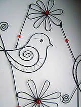 Dekorácie - záves s vtáčikom 83cm - 4939121_