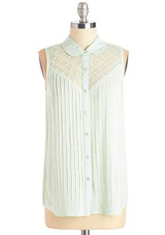 Winsome in the Willows Top in Mint - Mint, Solid, Lace, Casual, Daytime Party, Sleeveless, Spring, Variation, Collared, Green, Sleeveless, Work