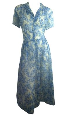 """Sheer! 1940s/50s sheer plisse nylon dress in blue, black and white abstract design. Side metal zip, blue button detailing up bodice. No label, no flaws. Measures 42"""" around bust, 32"""" around waist, 56"""""""