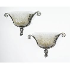 Edgar Brandt and Daum PAIR OF WALL-LIGHTS  glass engraved DAUM NANCY FRANCE with the Croix de Lorraine iron stamped FRANCE E.BRANDT  11 x 17 1/2 x 6 1/2 in. (27.9 x 44.4 x 16.5 cm) ca. 1925