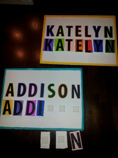 Learn your name matching game.  I used foam posterboard and velcro to attach the pieces.  This is a great game for preschoolers to learn to recognize and spell their name,  letter recognition/matching, and color matching!