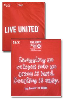 Smuggling an octopus into an arena is hard. Donating is easy! [Enter United Way for Southeastern Michigan's Brighter Headlines contest for a chance to win this t-shirt!]