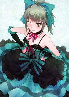 I really like this black and aqua blue corset type dress that this anime girl is wearing.