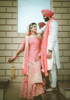 Dr Ramanjot with Guramrit Pal. Flaunting Akriti Bridal Couture's exquisitely crafted long shirt with lehnga &dupatta , pure Dabka zardosi work!