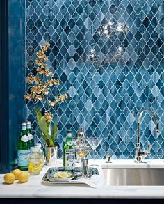 Divine Renovations Moroccan Tiles #Blues #Splashback