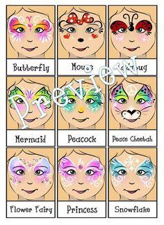 Face Painting Menu-4 Page Bundle-Digital Download PDF et fichiers PNG individuels