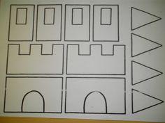 Maak zelf eens een kasteel (zie ook andere foto's). Kleuren, knippen, puzzelen en plakken! *liestr*