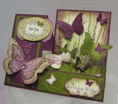 Side Step Vintage Butterflies by itsria - Cards and Paper Crafts at Splitcoaststampers Easel Cards, 3d Cards, Stampin Up Cards, Fun Fold Cards, Folded Cards, Side Step Card, Step Cards, Butterfly Cards, Vintage Butterfly
