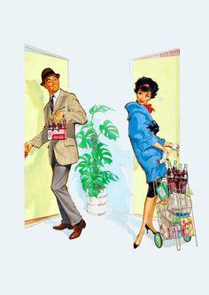 Pete Hawley illustration for thie 1960 vintage Coca Cola ad Coca Cola Poster, Coca Cola Ad, Always Coca Cola, Coke Ad, Coca Cola Vintage, Mode Vintage, Vintage Ads, Vintage Stuff, Vintage Signs
