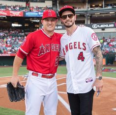 Mike Trout and J J Redick [who threw out the first pitch]//July 30, 2016