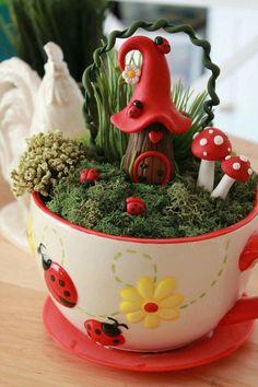 Cute Elf Home in Ladybug Teacup